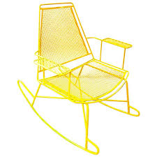 mid century metal mesh patio rocking chair for
