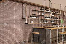 interior of stylish bar with brick walls wooden floor wooden table and stools