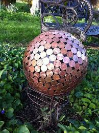 Decorated Bowling Balls garden decoration ideas bowling balls copper penny garden statue 2