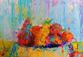 kitchen paintings kitchen wall art decor decal impasto painting palette knife still life fruits food for