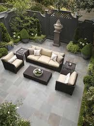 patio designs. Fine Patios Backyard Patio Design Ideas For Small Gardens Unlegged Black Wicker Furniture Set Grey Stone In Back Yard Outdoor . Designs