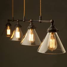 vintage edison long billiard table light with four lampholders with a range of shade options