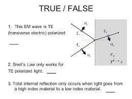true false this em wave is te transverse electric polarized