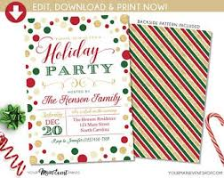 Printable Holiday Party Invitations Holiday Party Invite Etsy