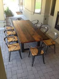 wood patio table wooden patio furniture sets reclaimed wood and steel outdoor dining table