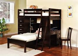a bunk bed with a desk underneath bedroom loft bed with storage underneath black wheeled chair