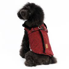 picture of kuoser cute fleece lining plaid dog vest winter coat warm dog apparel for cold