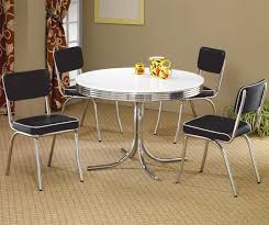 round dining table and chairs. Coaster Cleveland Round Chrome Plated Dining Table - Fine Furniture And Chairs