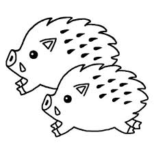 亥イノシシのイラストb白黒2007年亥年平成19年猪いのししと