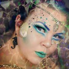 mermaid inspired fantasy makeup accented with ss pearls and rhinestones