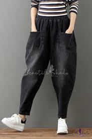 Womens New Stylish Vintage <b>High Elastic Waist Pockets</b> Loose ...