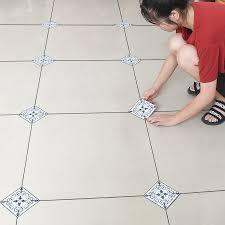 10pcs 12x12cm self adhesive ceramic tile stickers waterproof pvc wallpaper wall art diagonal 3d floor mural house decor