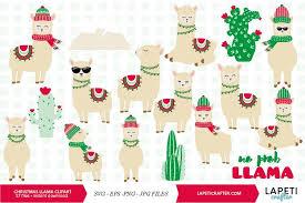 Christmas Llama Clipart 17 Alpaca Digital Clipart