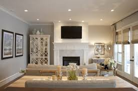 modern recessed lighting for classic living room decorating ideas using white and grey interior colors and stylish fireplace
