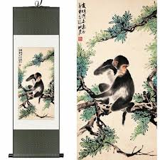 original chinese silk watercolor double monkey two monkeys pine animal ink art canvas damask framed scroll on damask framed wall art with original chinese silk watercolor double monkey two monkeys pine