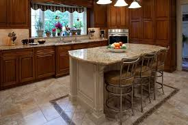 traditional cherry kitchen with tile accents and large island