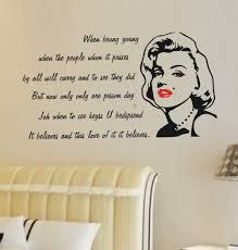 Marilyn Monroe Bedroom Accessories White Bedroom Wall Sticker Marilyn Monroe Quote Decal Vinyl Art