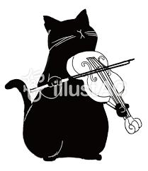 黒猫シルエットバイオリンを弾くイラスト No 706088無料イラスト