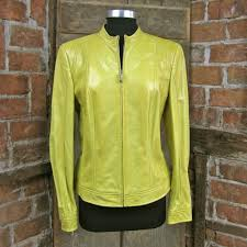 stunning escada yellow embossed reptile leather jacket