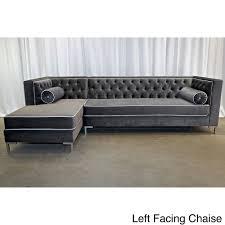 Overstock Living Room Furniture Decenni Tobias Regency Velvet Tufted 8 Foot Sectional By Decenni
