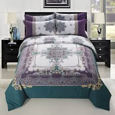 dark teal eggplant purple gold and beige boho moroccan indian pattern sophisticated 100 brushed cotton full queen size bedding sets