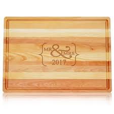 mr mrs large wood cutting board