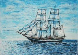 saatchi art artist karina yel painting ship in blue sea oil pastel on