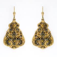 boho chic gold filigree chandelier earrings 9671g black