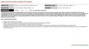 import export specialist sample resume import export specialist