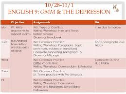 week review argument essay english omm and the depression  10 28 11 1 english 9 omm the depression objectiveassignmentshw monwi