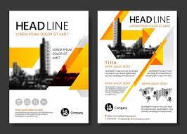 黄色三角和高楼商务传单图片 brochure templatevector ilrationsmagnoliabrochures