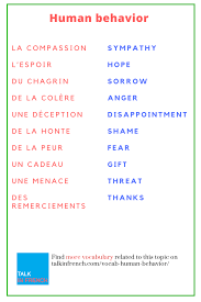 behavior list french vocabulary list le comportement humain human behavior