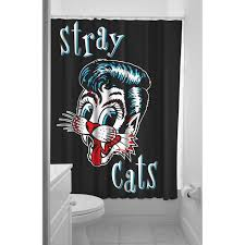 sourpuss stray cats shower curtain