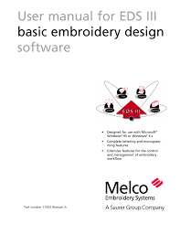 Ez Design Software Embroidery User Manual For Eds Iii Basic Embroidery Design Software