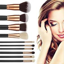 10pcs makeup brush set powder eyeshadow foundation cosmetic brushes tool bag