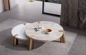 mimeo large round coffee table white