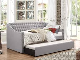 daybed with trundle. Amazon.com: Homelegance Sleigh Daybed With Tufted Back Rest And Nail Head Accent, Twin, Grey: Kitchen \u0026 Dining Trundle