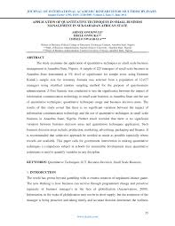 application of quantitative techniques in small business  application of quantitative techniques in small business management in sub saharan african state pdf available