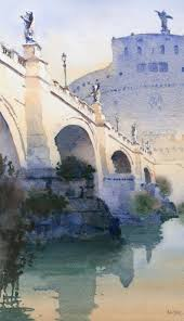 ponte sant angelo by michael reardon watercolor painting