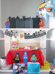 Avengers Party Decorations Lego Superhero Birthday Party The Scrap Shoppe