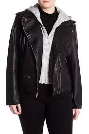 bnci by blanc noirfleece hood textured faux leather moto jacket plus size