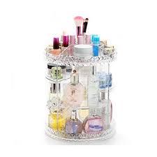 beautyland 360 degree rotation dimond edge clear acrylic cosmetic storage drawers make up rack jewelry storage