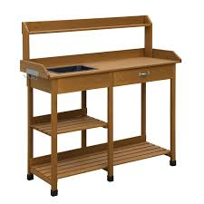 Potting Table Modern Garden Potting Bench Table With Sink Storage Shelves