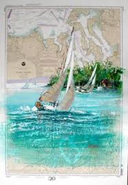 Paintings On Nautical Charts Puget Sound Mixed Media Painting On Nautical Chart Signed