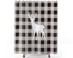 cream and black shower curtain. rustic christmas shower curtain - deer and plaid farmhouse black cream