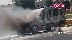 Seyir Halindeki Araç Alev Aldı - TEKİRDAĞ - Çorlu Haber