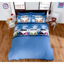 boys campervan duvet cover û teenage multi coloured navy blue bedding bed set blue red green