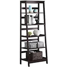 furniture ladder shelves. topeakmart 5 tier wood leaning ladder shelf bookcasebookshelf in espresso finish furniture shelves