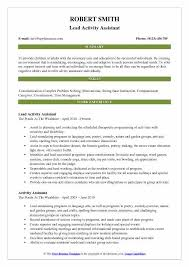 5 Star Resume Samples Best Of Activity Assistant Resume Samples QwikResume