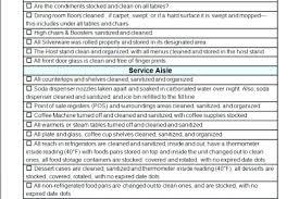 Restaurant Server Side Work Checklist Template Good Cleaning Format ...